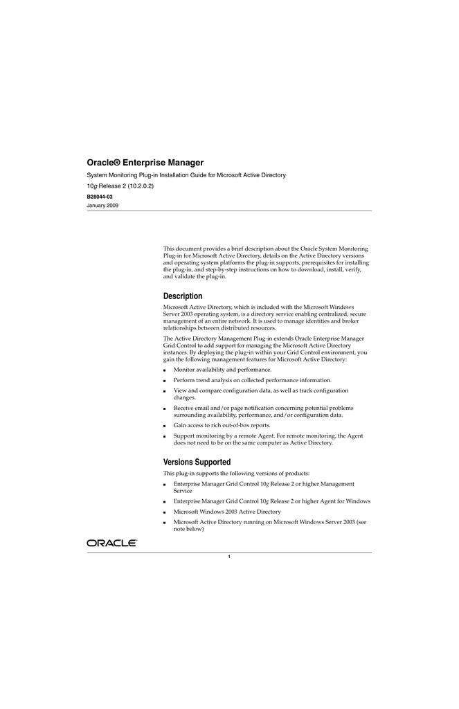 Oracle® Enterprise Manager g | manualzz com