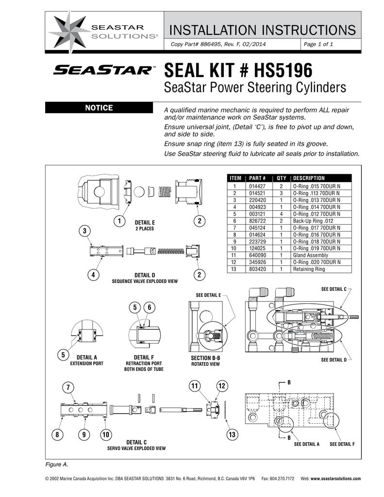 SEAL KIT, PART No  HS5196   manualzz com