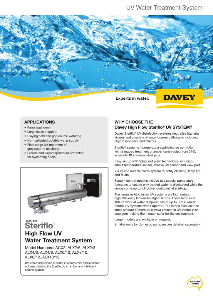 Steriflo High Flow UV Water Treatment System Datasheet