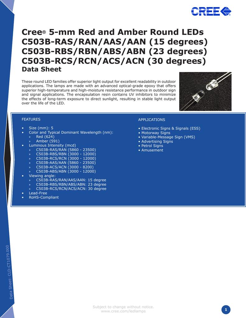 datasheet for C503B-AAN by Marktech Optoelectronics