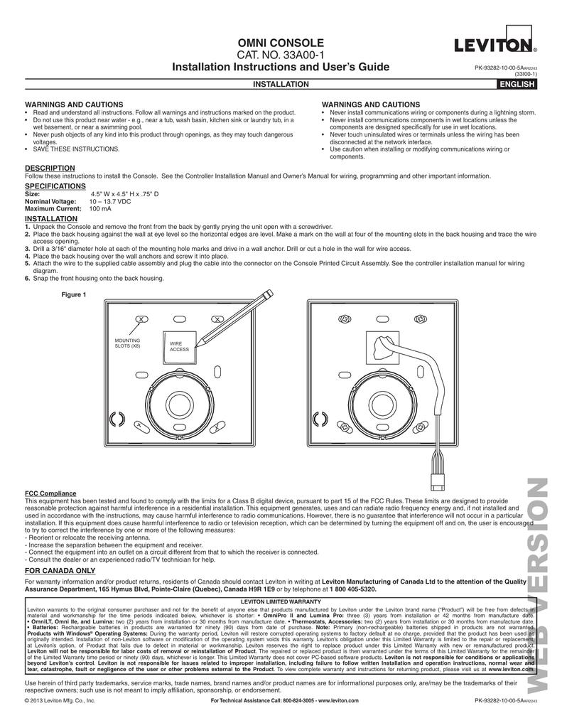 Leviton HAI 33A00 1 install manual
