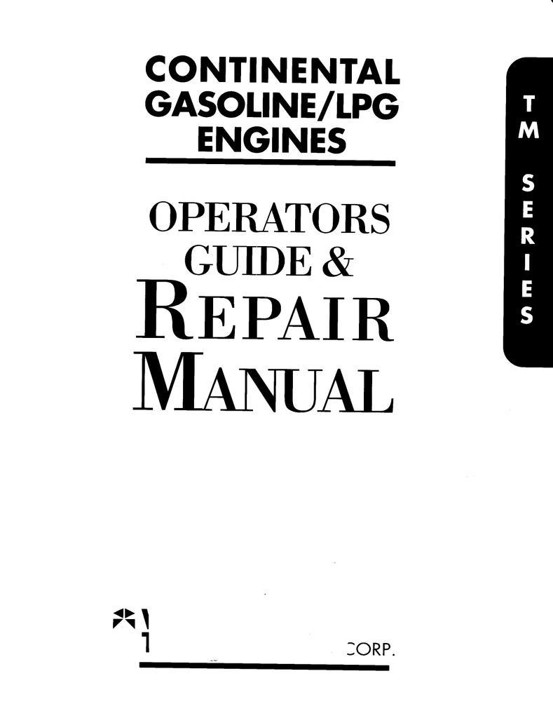 Continental Gasoline/LPG Engine Operators Guide Repair
