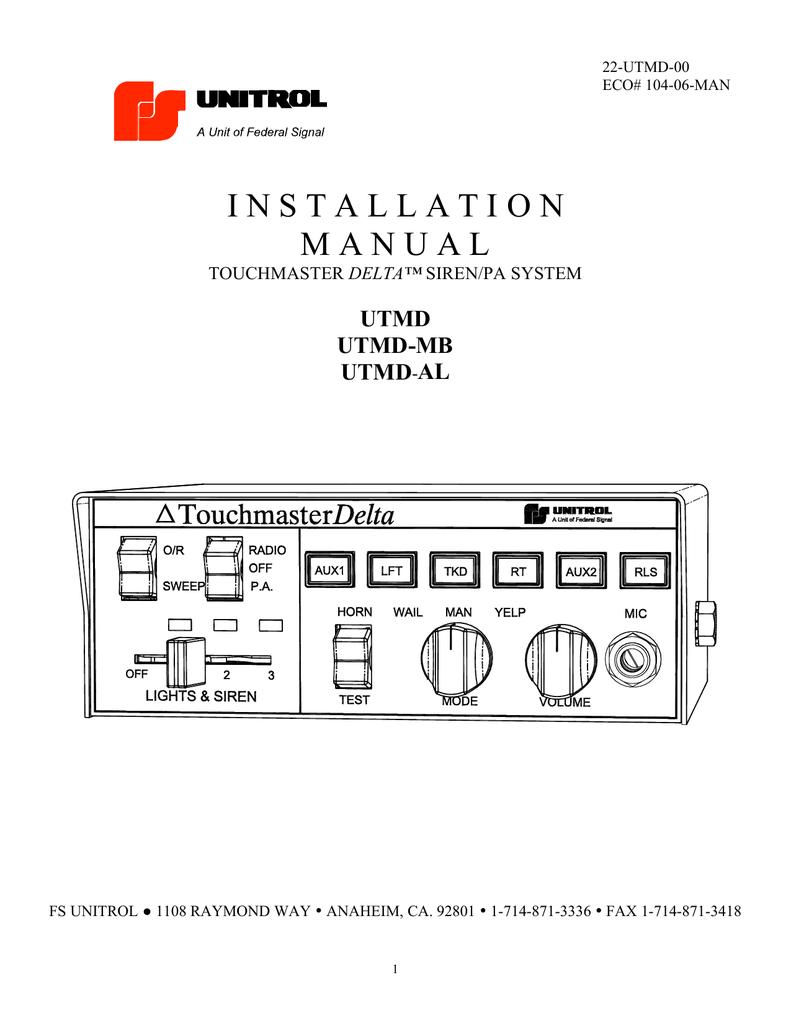 Unitrol Touchmaster Wiring Diagram | Wiring Diagram on
