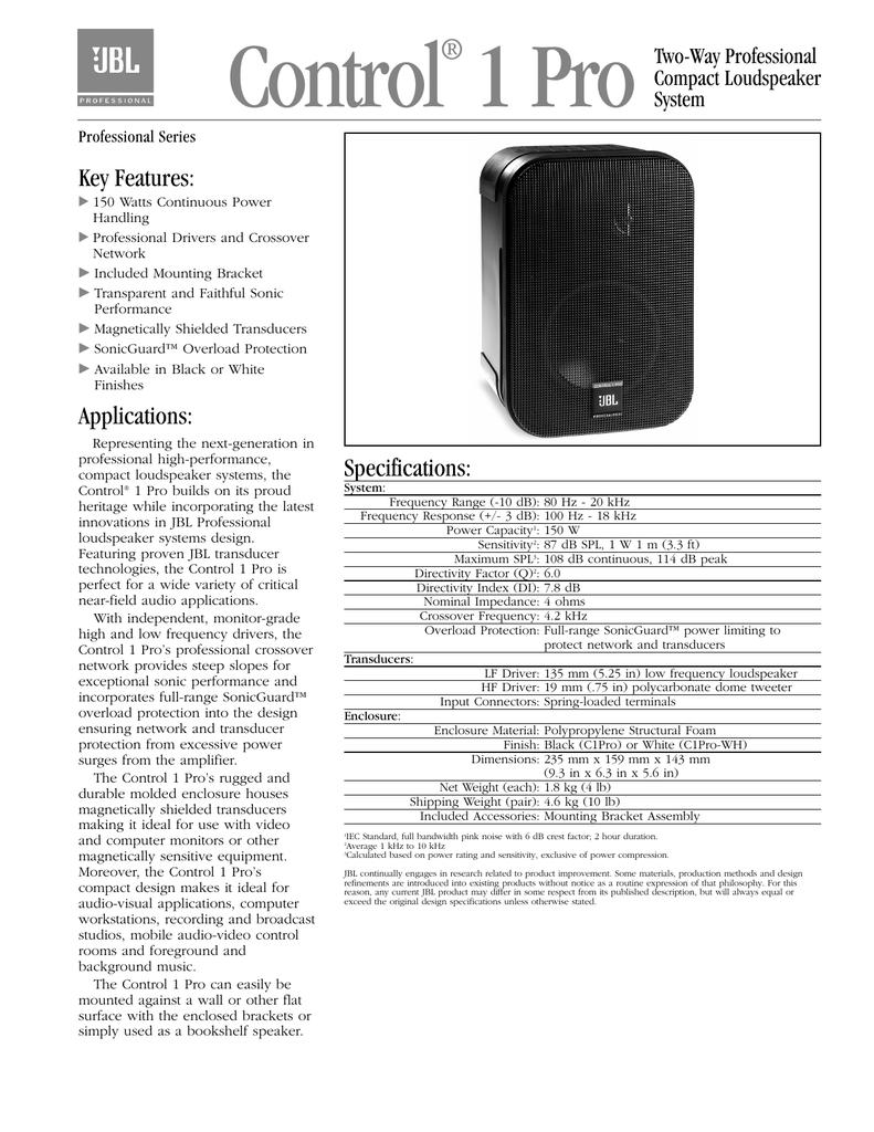 Control 1 Pro Spec Sheet | manualzz com