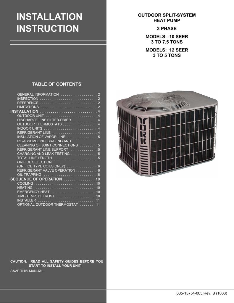 Inst Man E1rc 36 60 3ph Totaline Heat Pump Thermostat Wiring Diagram