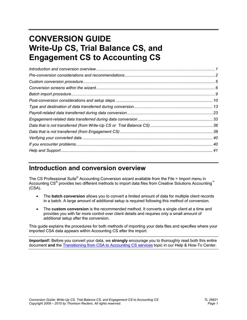 Write-Up CS, Trial Balance CS, and Engagement CS to Accounting CS