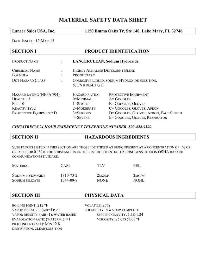Lancerclean Sodium Hydroxide Material Safety Data Sheet Msds Manualzz