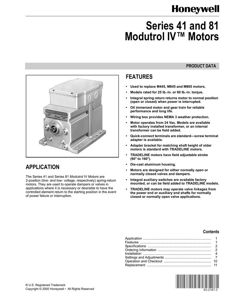 honeywell modutrol motors specs