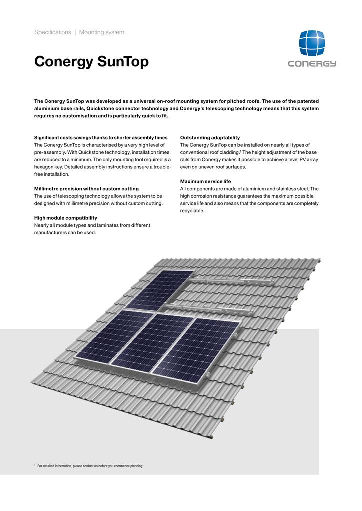 Conergy Sun Top IIII Solar Panel Mount Pitched Roof | manualzz com