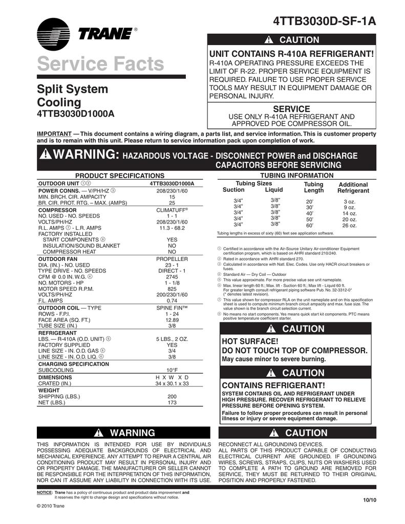 Trane XB13 Air Conditioner Service Facts | manualzz com