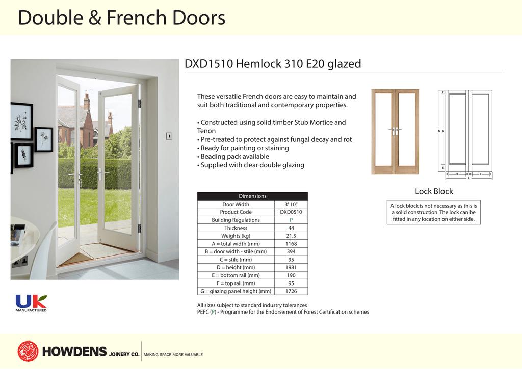French Doors Dxd1510 Hemlock 310 E20