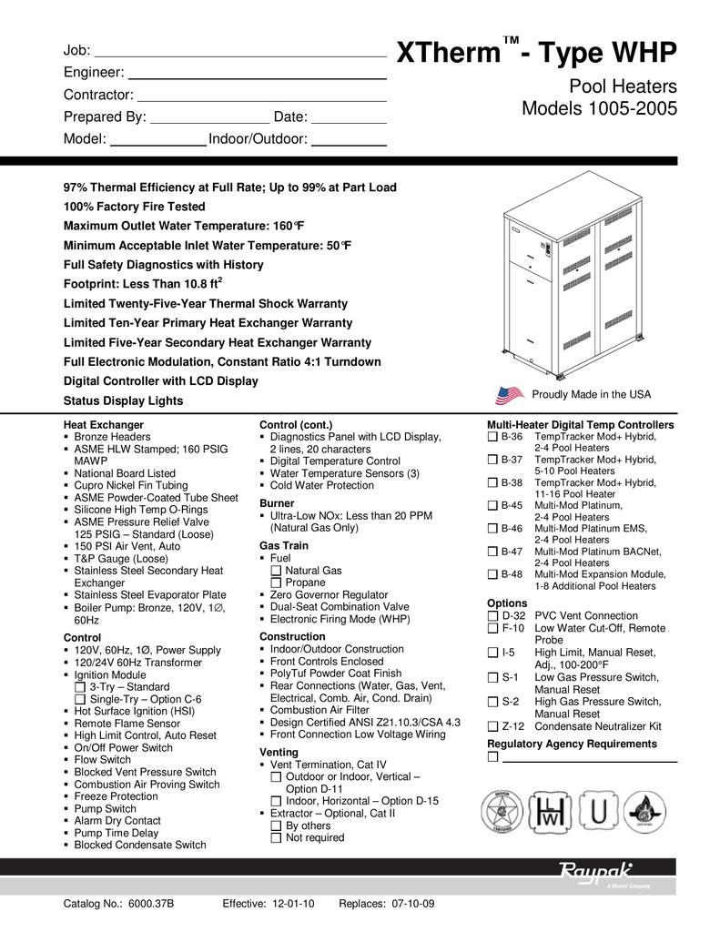XTherm Raypak XTherm – Type WHP 1005