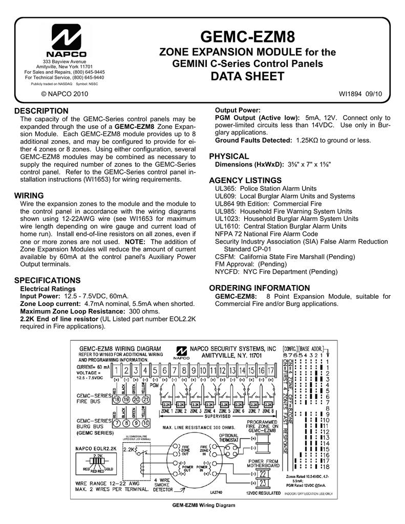 Gem Ezm8 Wiring Diagram Free Download Gemini Alarm Napco Gemc Data Sheet Together With Including 4 At