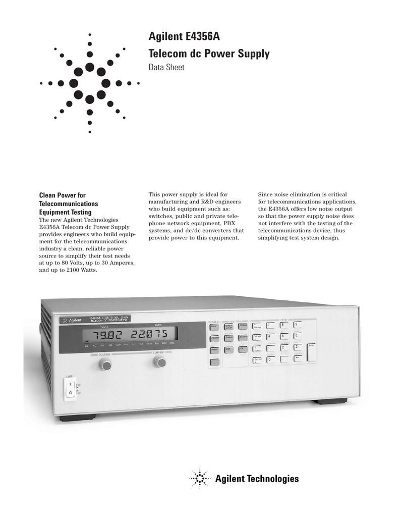 Agilent E4356A Telecom dc Power Supply Data Sheet Clean