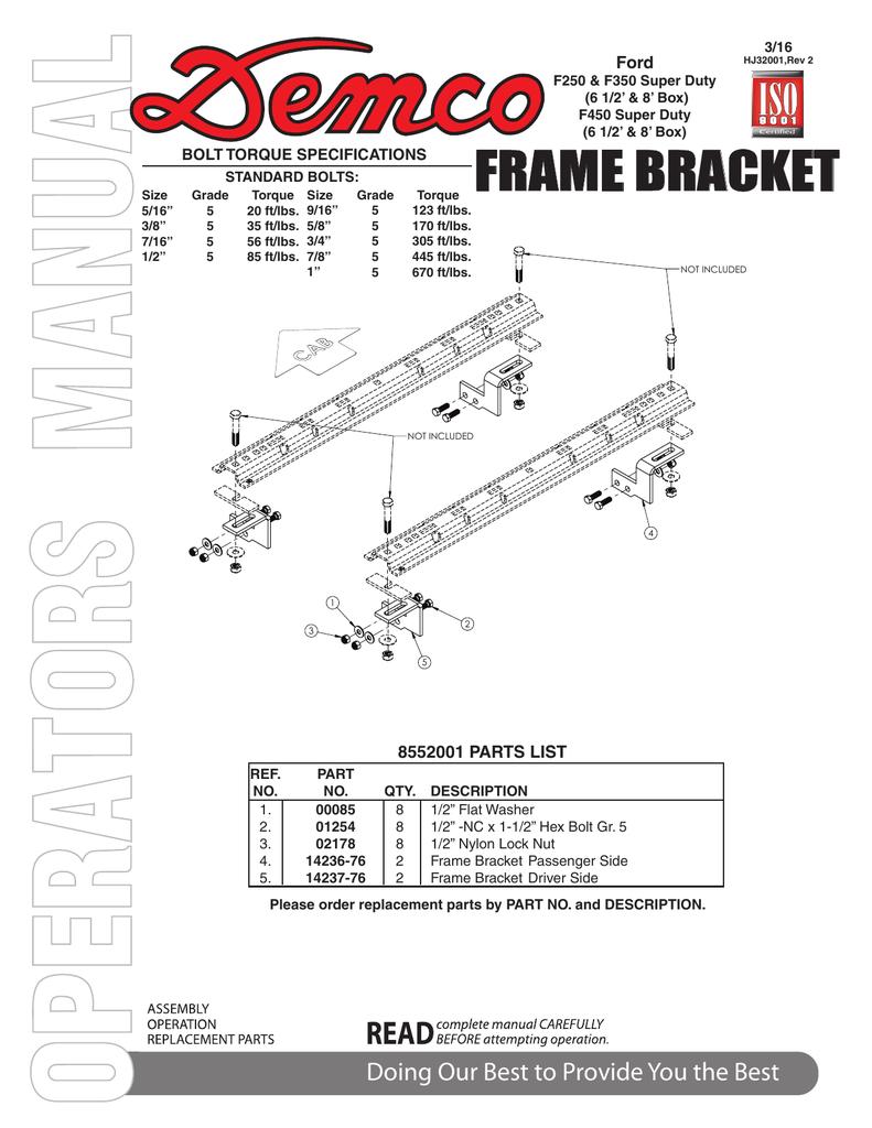HJ32001 - 8552001 Frame Bracket | manualzz com