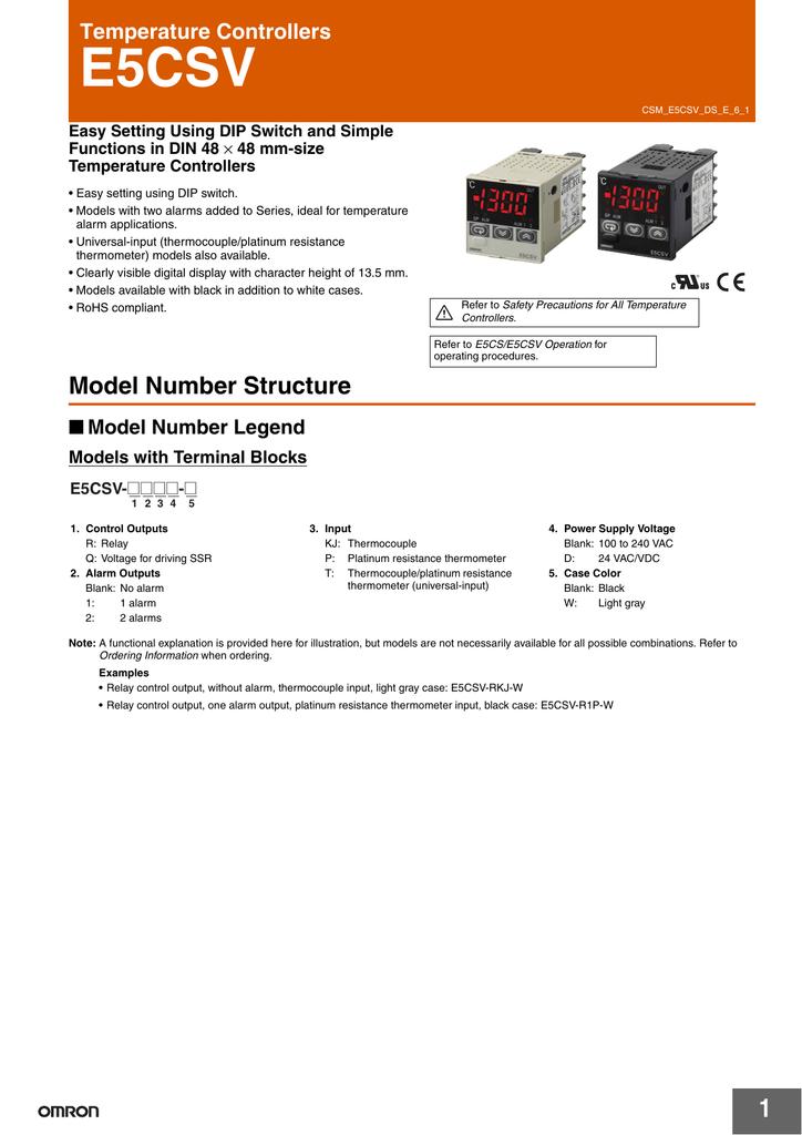 E5CSV Temperature Controllers | manualzz.com on