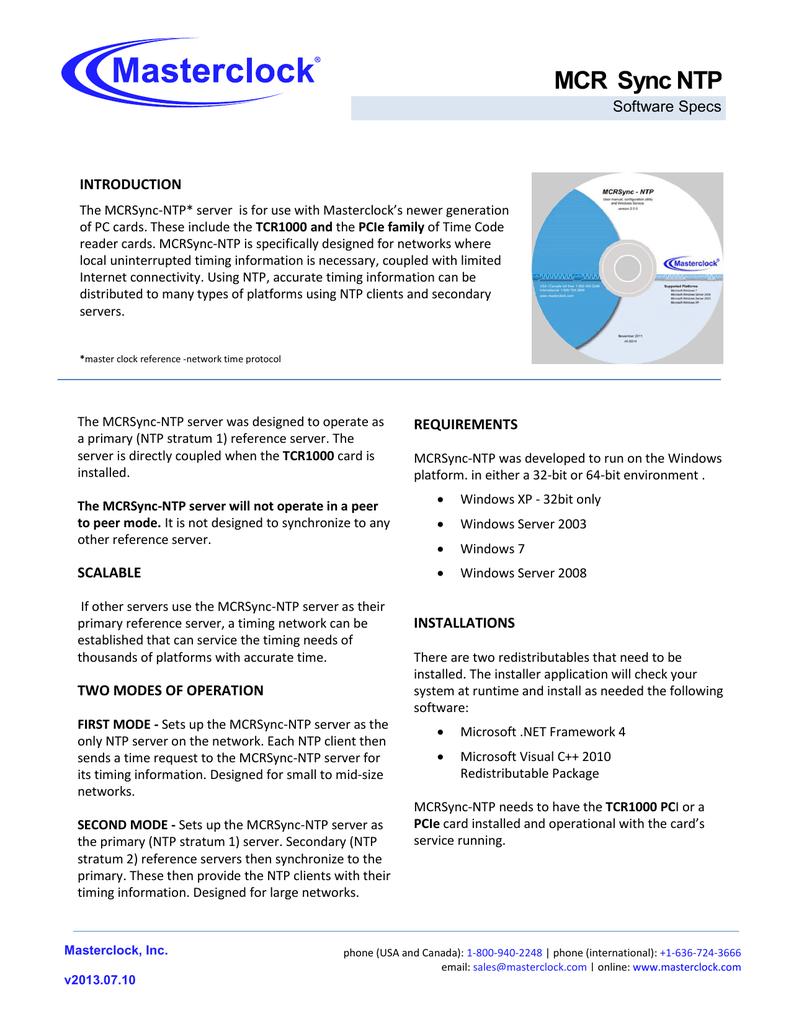MCRSync-NTP Data Sheet | manualzz com