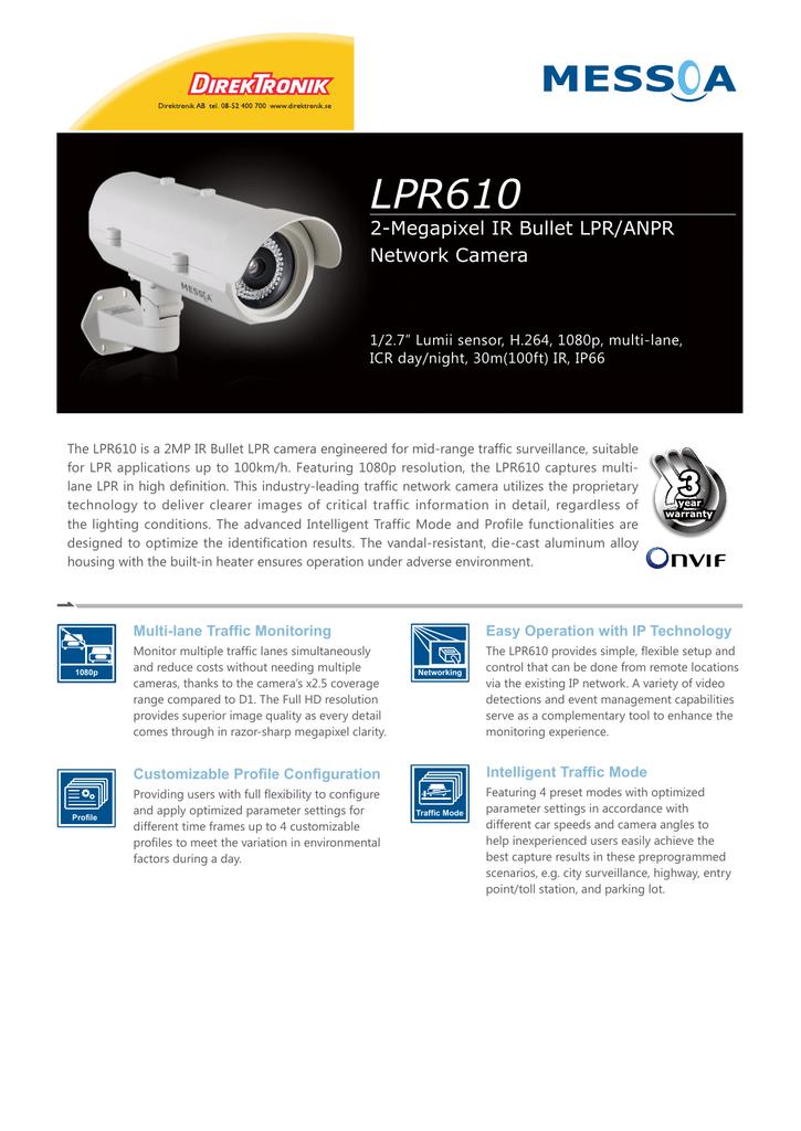 LPR610 2-Megapixel IR Bullet LPR/ANPR Network Camera 1/2 7