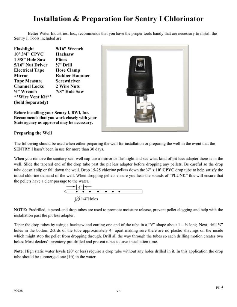 Sentry Dry Pellet Chlorinator Installation Manual | manualzz com