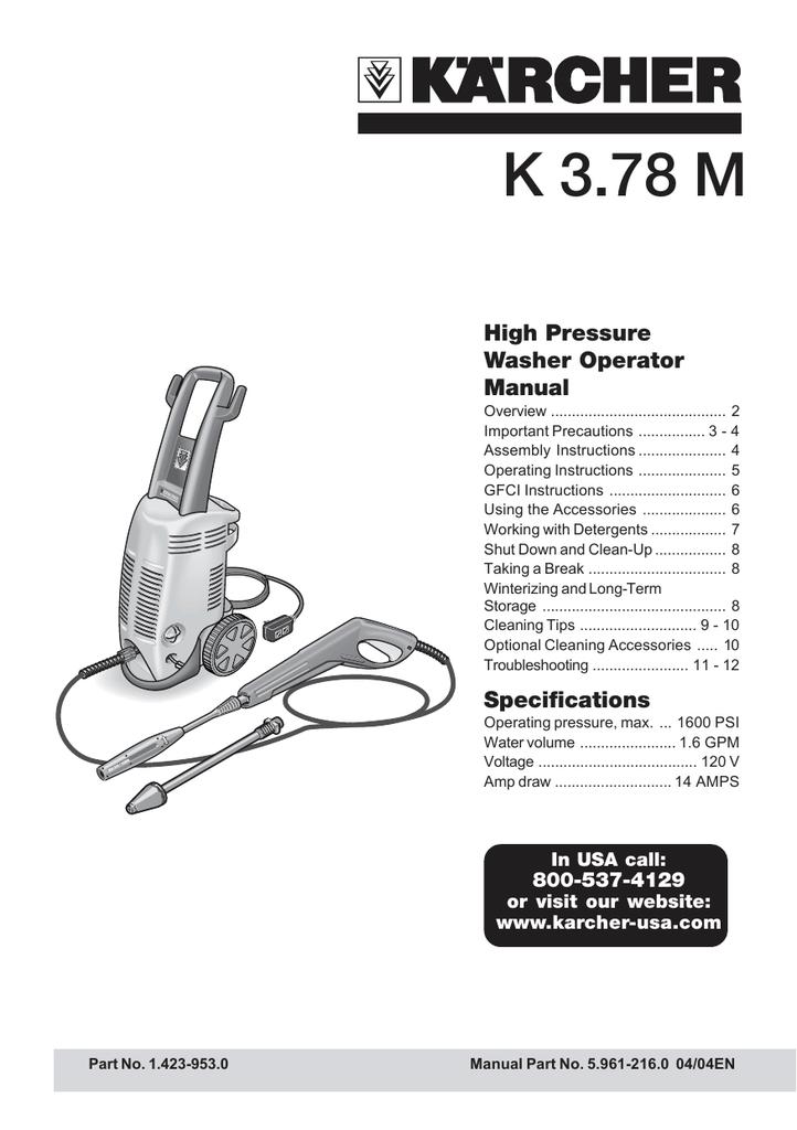 K3 78M+ Pressure Washer Operating Manual   manualzz com