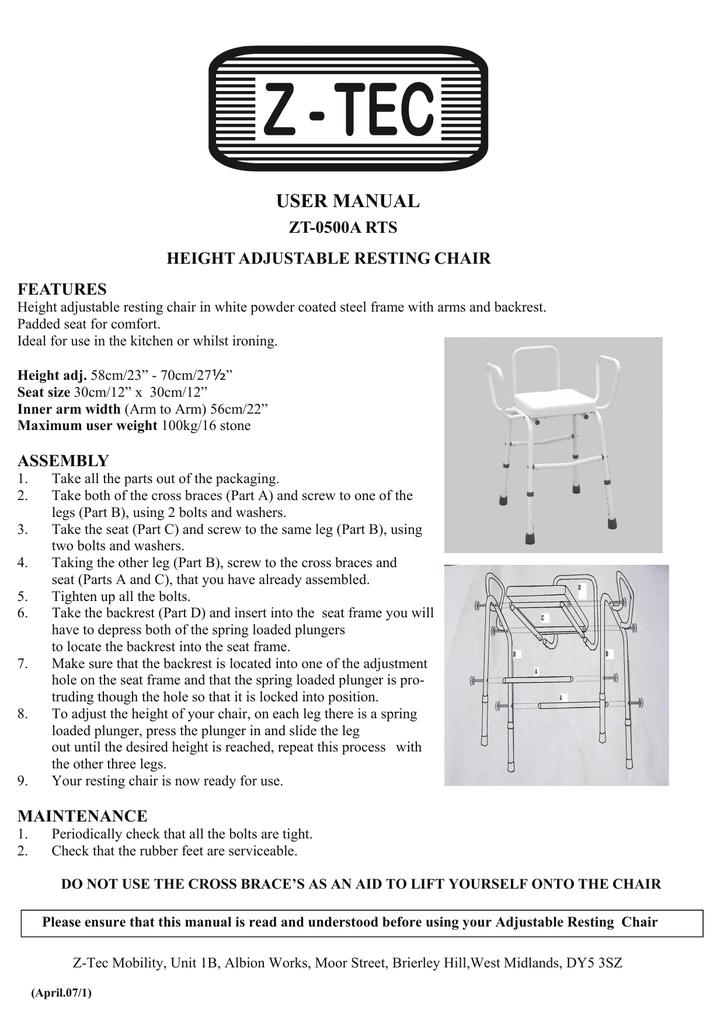 ZT-0500A RTS Height adjustable Resting Chair pdf | manualzz com