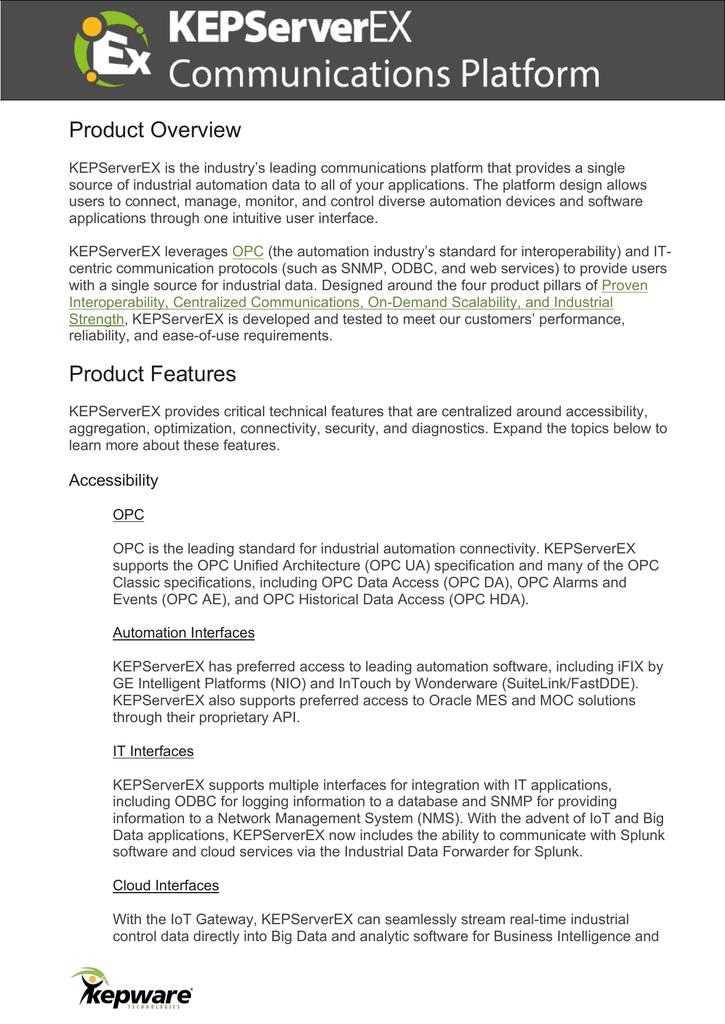 Спецификация на KEPServerEX (англ ) | manualzz com