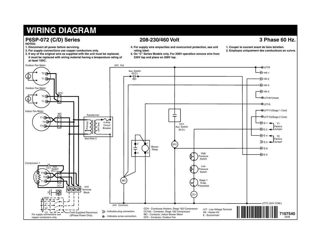 [DIAGRAM_38DE]  WIRING DIAGRAM 3 Phase 60 Hz. P6SP-072 (C/D) Series | Manualzz | 208 230 3 Phase Wiring Diagram |  | manualzz