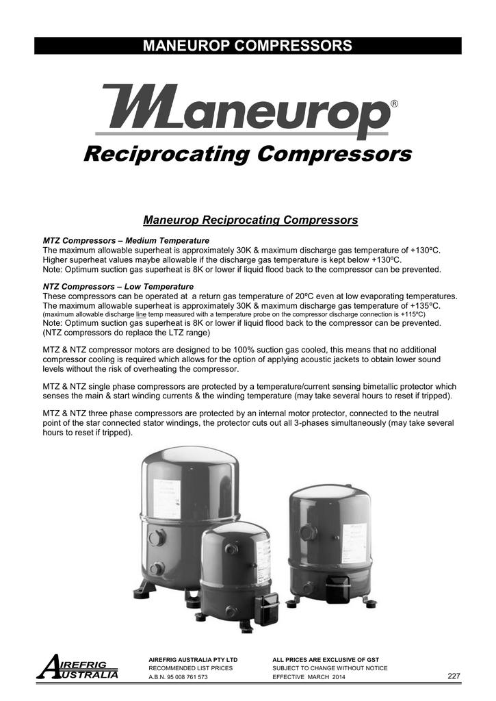 compressors maneurop recip