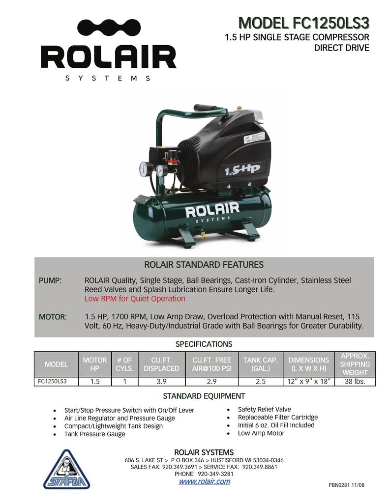 RolAir FC1250LS3 Spec Datasheet | manualzz com