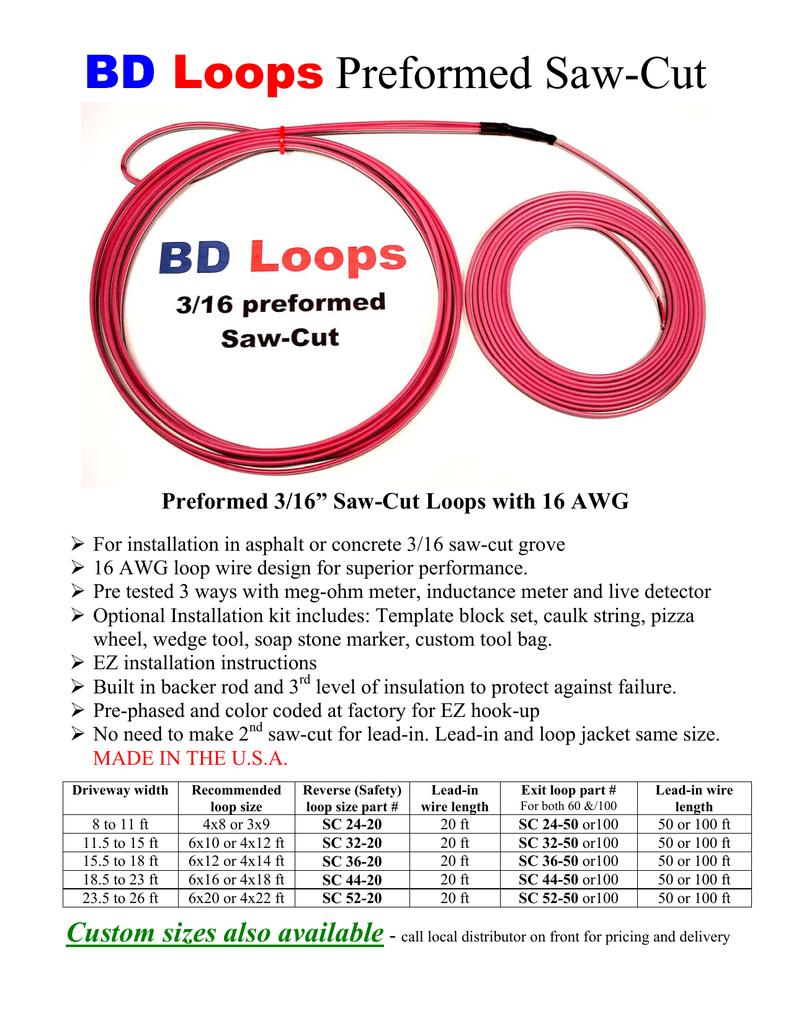 Exit Loop 4/' X 12/' or 6/' x 10/' Saw Cut Performed Loops with 50/'Lead BD Loops