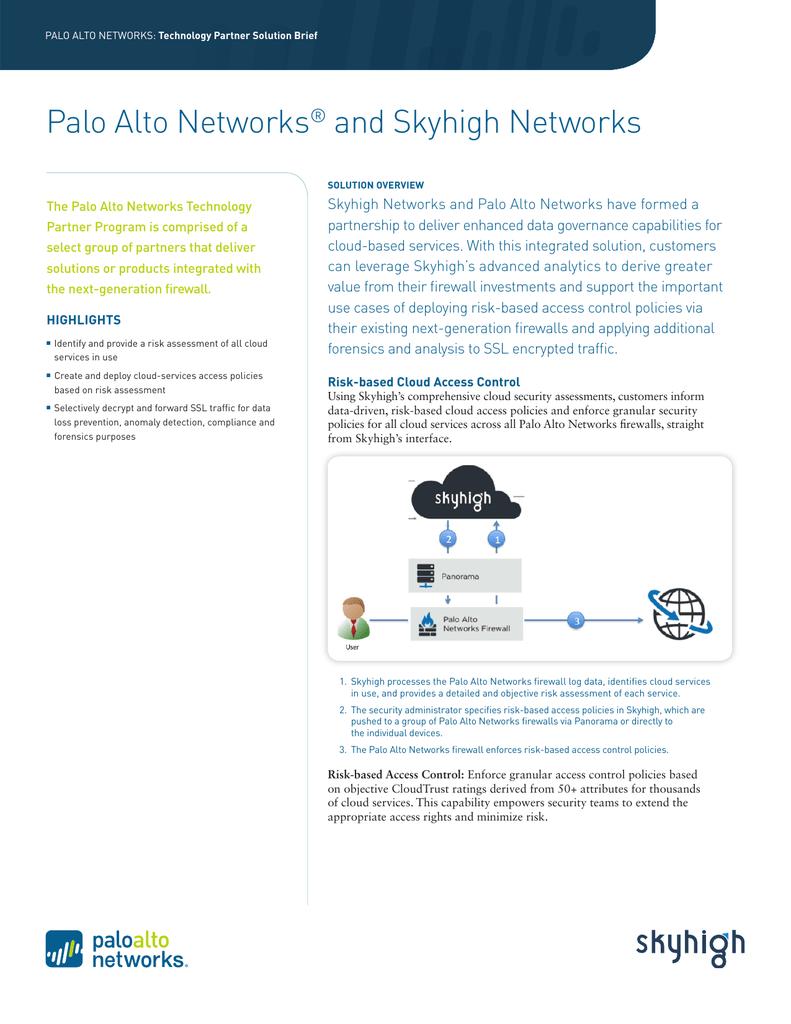 Palo Alto Networks Skyhigh Networks Solution Brief