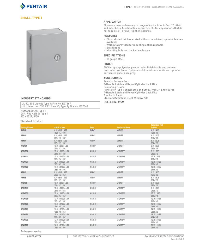 NEW A8N64 HOFFMAN ENCLOSURE BOX  8 X 6 X 4 GRAY STEEL TYPE 1