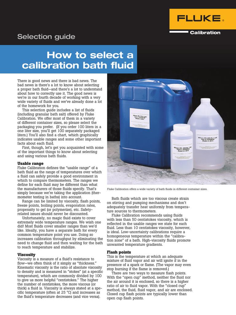 How to select a calibration bath fluid | manualzz com