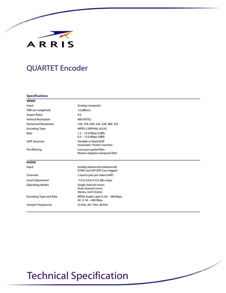 PDF Quartet Encoder Technical Specification | manualzz com