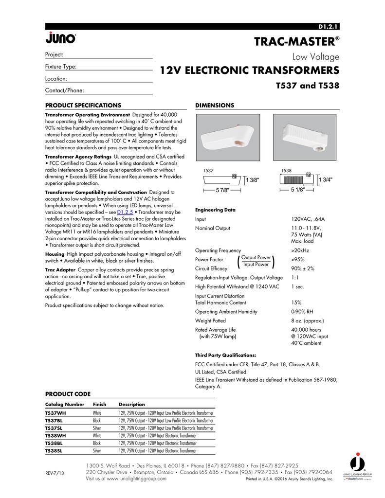 1 Juno Lighting T537SL Trac-Master Low Profile 12V Electronic Transformer Silver