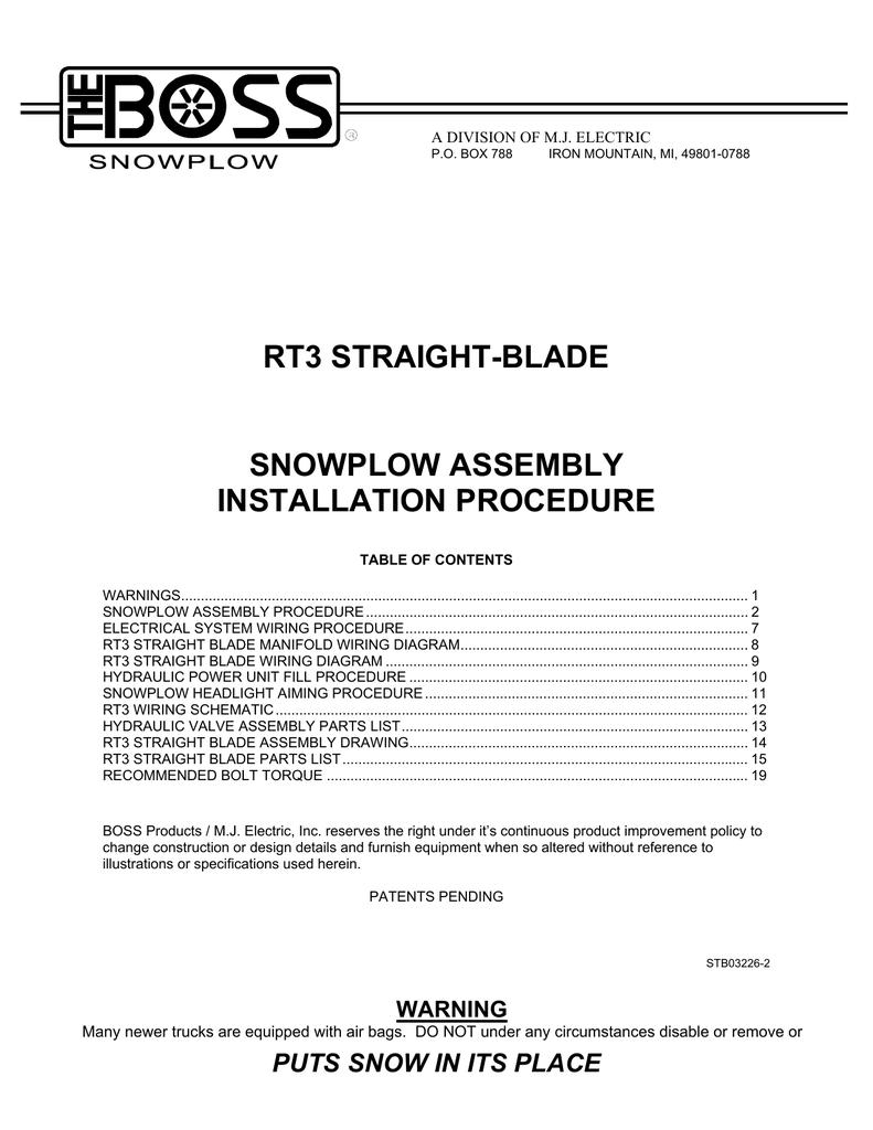 RT3 Straight Blade Snowplow Assembly Installation Procedure | manualzz.com