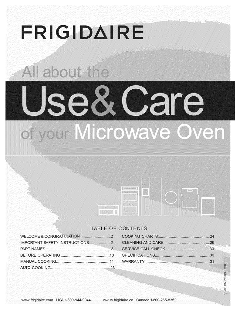 Frigidaire Microwave Cfmv152clba Manualzz