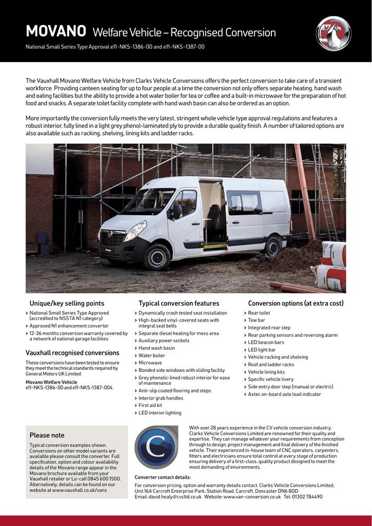MOVANO Welfare Vehicle – Recognised Conversion | manualzz com