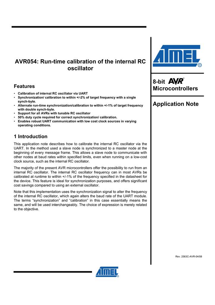 AVR054: Run-time calibration of the internal RC oscillator