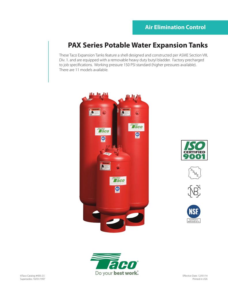 PAX Series Potable Water Expansion Tanks Air Elimination Control