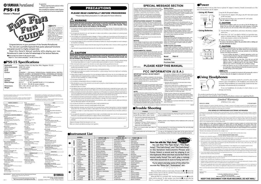 Yamaha PSS-15 Owner's manual