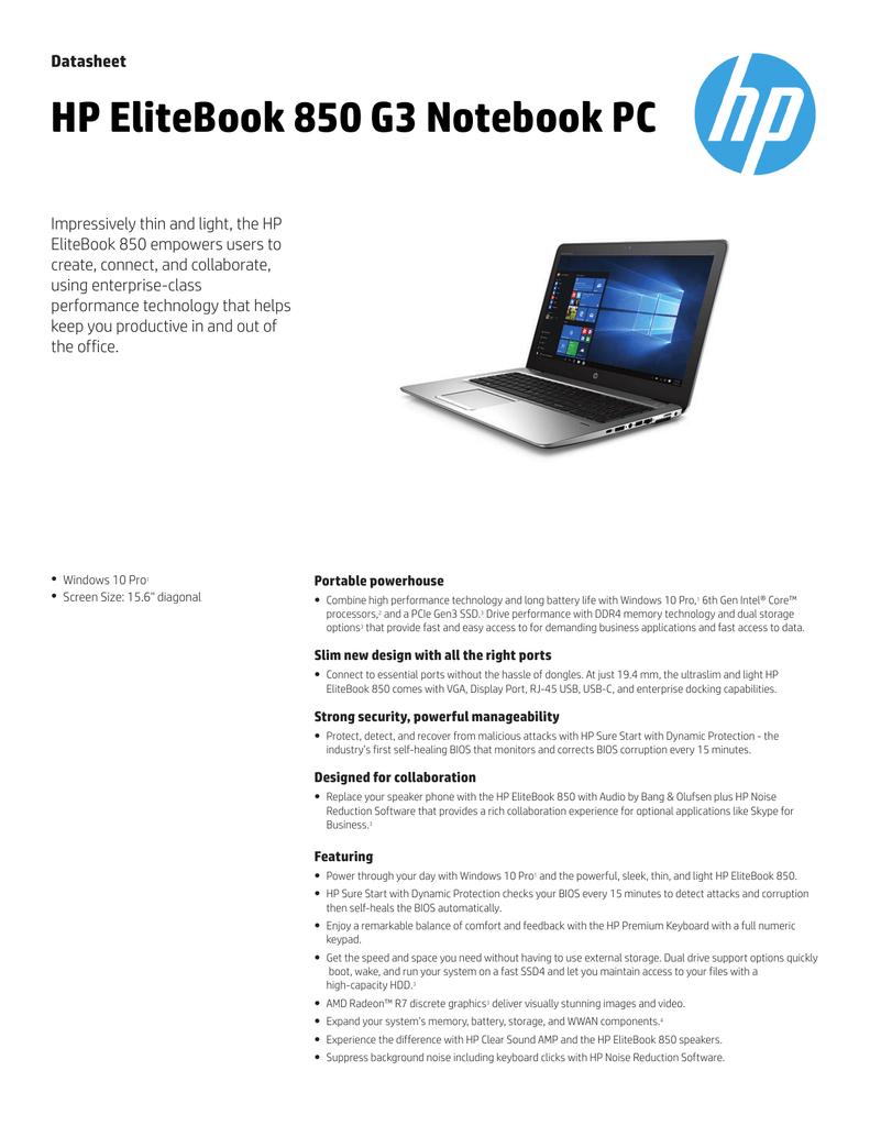 HP EliteBook 850 G3 Notebook PC | manualzz com