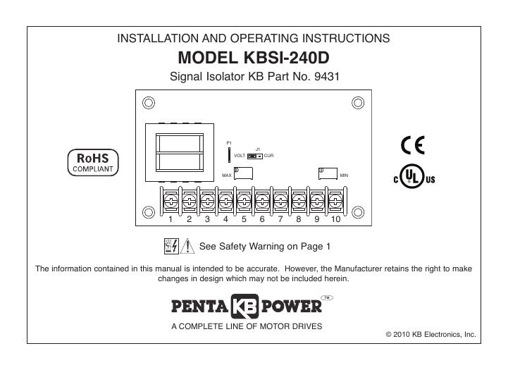 9431 KB Electronics KB-KBSI-240D Signal Isolator