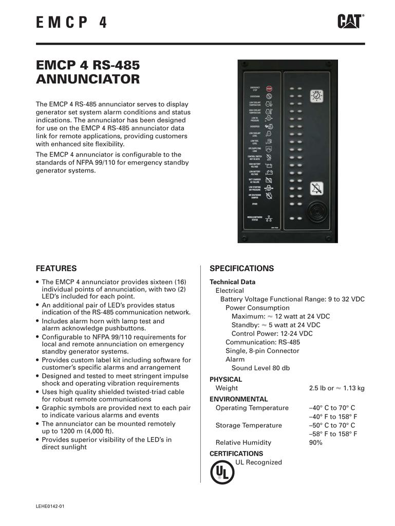 Emcp4 Rs485 Remote Annunciator Lehe0142