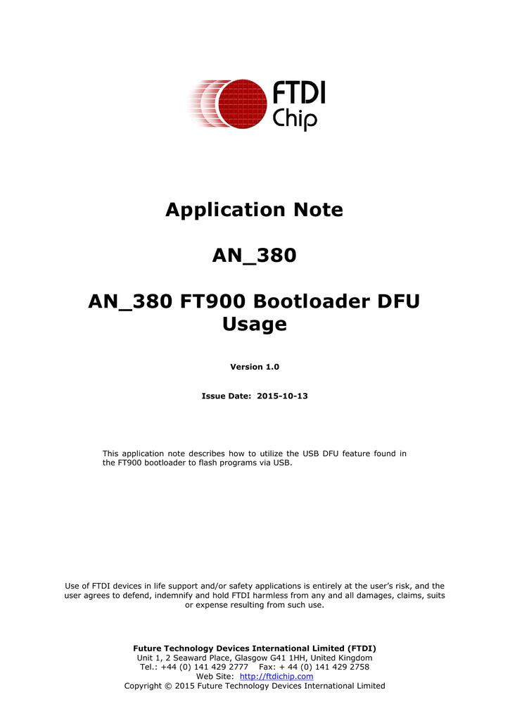 AN_380 FT900 Bootloader DFU Usage | manualzz com