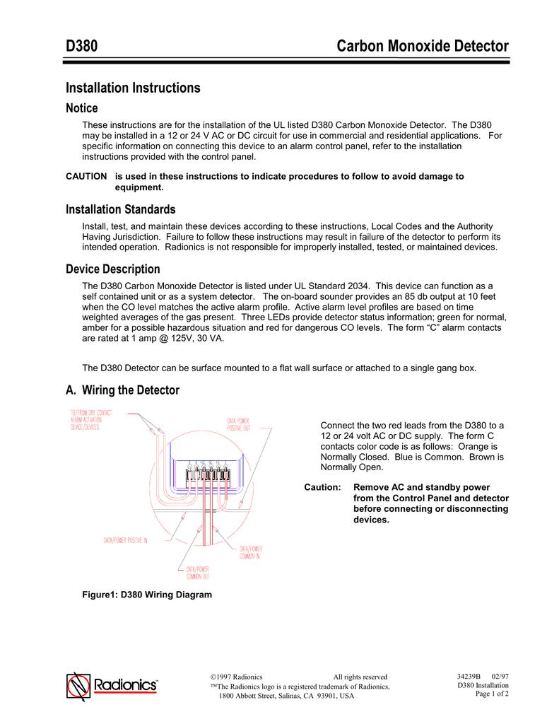 D380 Carbon Monoxide Detector Control Panel Wiring Color Code