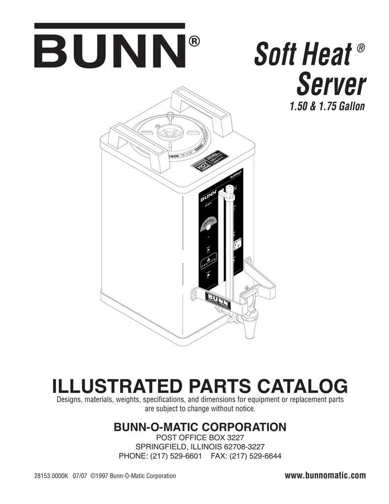 Soft Heat Server Parts Manual Bunn Catalog Wiring Diagram