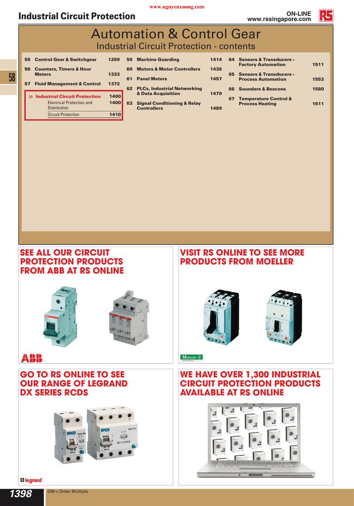 ABB MINIATURE CIRCUIT BREAKER 6KA 440VAC,Trip Curve C,3Poles 32A,40A,50A Or 63A