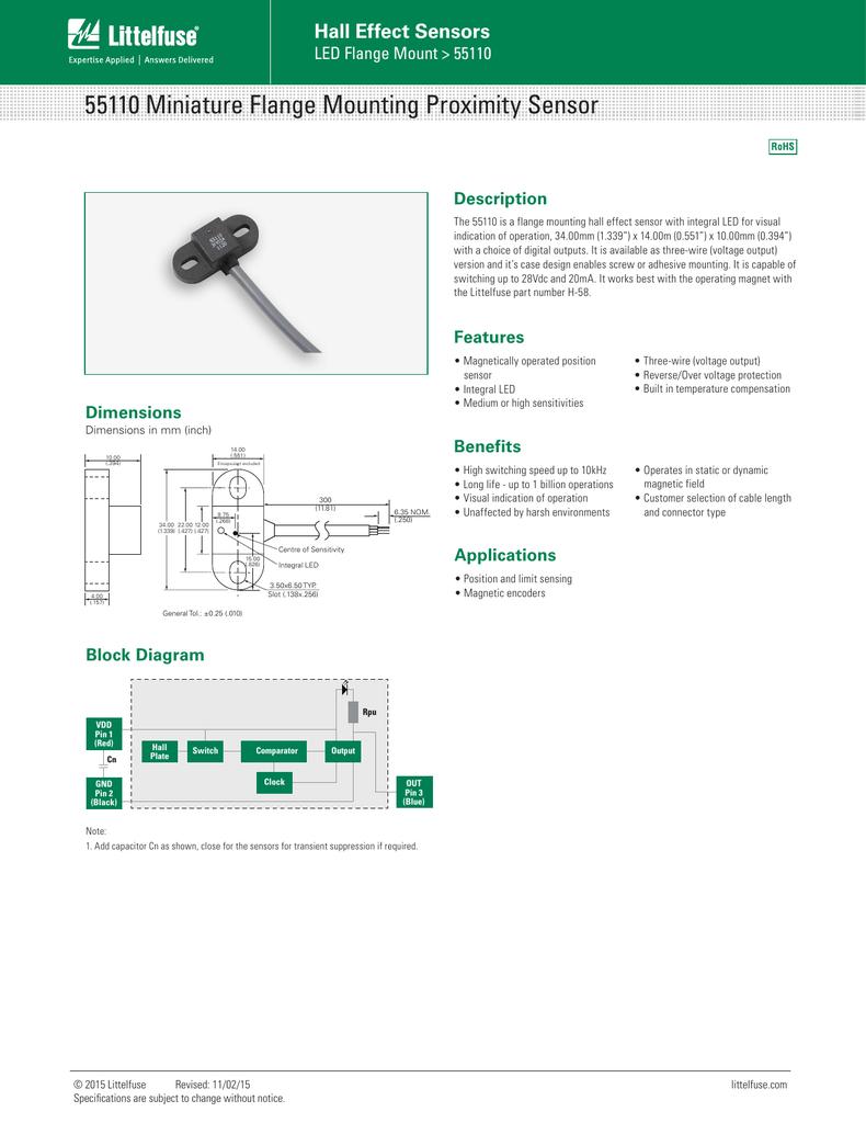 55110 Miniature Flange Mounting Proximity Sensor Hall Effect