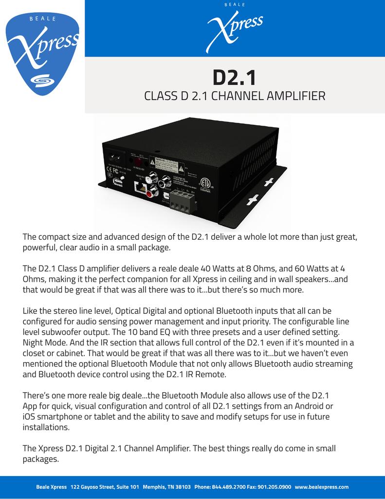 D2 1 CLASS D 2 1 CHANNEL AMPLIFIER | manualzz com